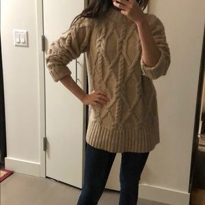 Beige oversized cable knit sweater